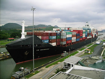 Container Ship in Panama Canal